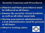 security concerns and procedures