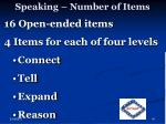 speaking number of items