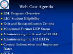 web cast agenda