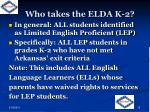 who takes the elda k 2