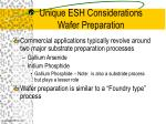 unique esh considerations wafer preparation