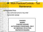 work practices controls tool maintenance2