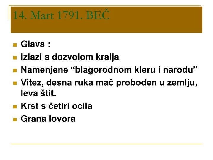 14 mart 1791 be