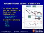 towards other earths biomarkers