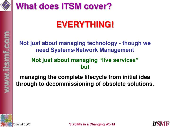 What does ITSM cover?
