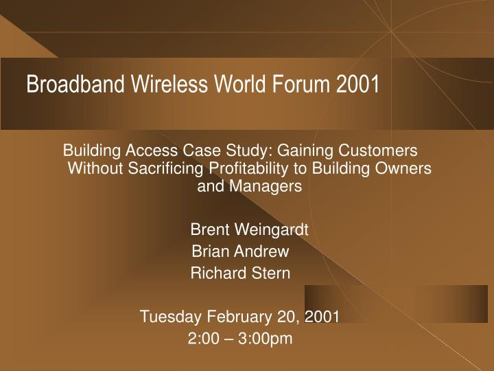 broadband wireless world forum 2001 n.