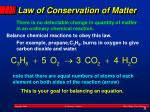 law of conservation of matter