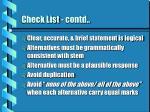 check list contd