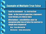 example of multiple true false