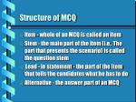 structure of mcq
