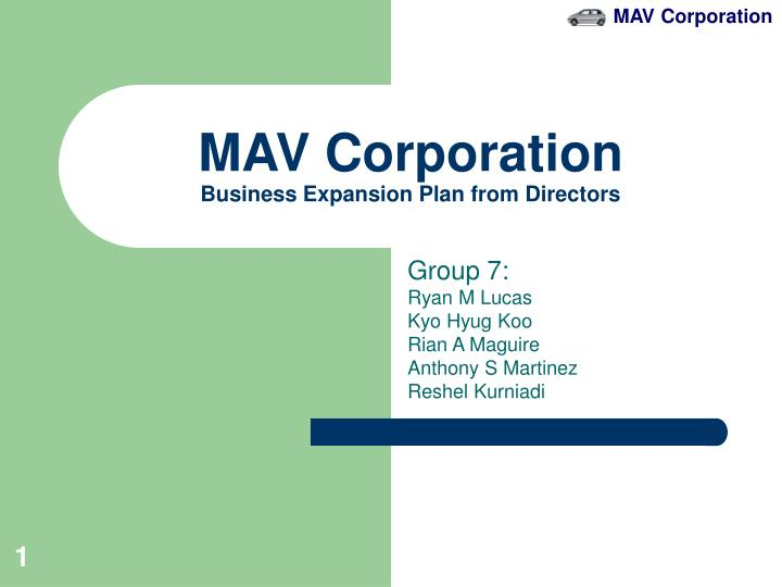 mav corporation business expansion plan from directors n.