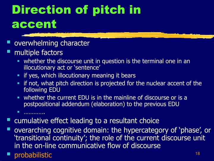 Direction of pitch in accent