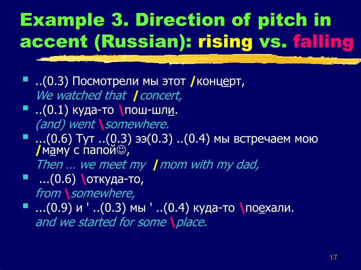 Example 3. Direction of pitch in accent (Russian):