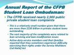 annual report of the cfpb student loan ombudsman