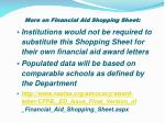 more on financial aid shopping sheet