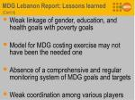 mdg lebanon report lessons learned cont d