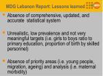 mdg lebanon report lessons learned