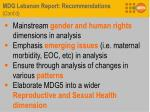mdg lebanon report recommendations cont d