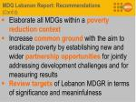 mdg lebanon report recommendations cont d1