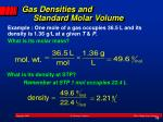 gas densities and standard molar volume