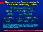 mass volume relationships in reactions involving gases