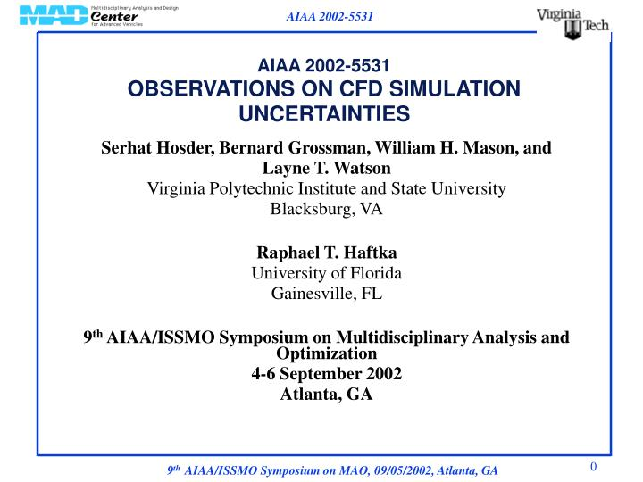 aiaa 2002 5531 observations on cfd simulation uncertainties n.