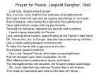 prayer for peace l opold senghor 1940