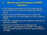 4 monitoring and evaluation of fndp indicators