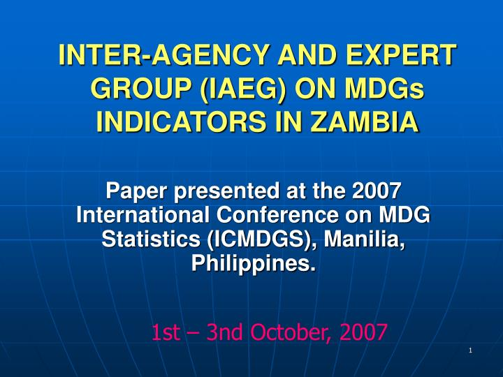 inter agency and expert group iaeg on mdgs indicators in zambia n.