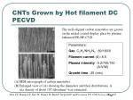 cnts grown by hot filament dc pecvd