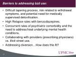 barriers to addressing bzd use