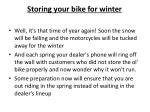 storing your bike for winter