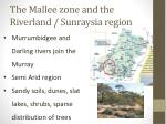 the mallee zone and the r iverland s unraysia region