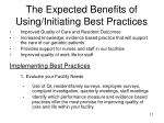 the expected benefits of using initiating best practices