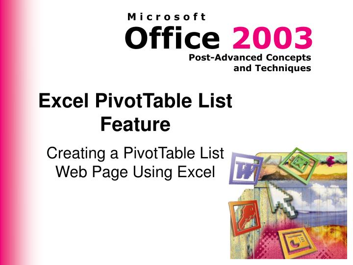 excel pivottable list feature n.