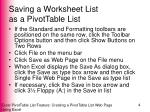 saving a worksheet list as a pivottable list1