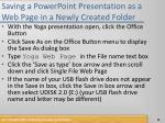 saving a powerpoint presentation as a web page in a newly created folder