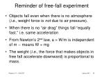 reminder of free fall experiment