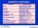 agentes e sintomas