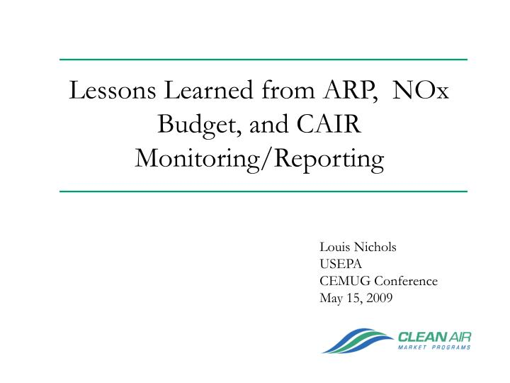 lessons learned from arp nox budget and cair monitoring reporting n.