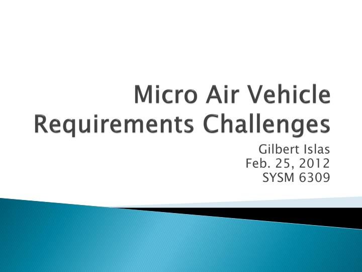 micro air vehicle requirements challenges n.