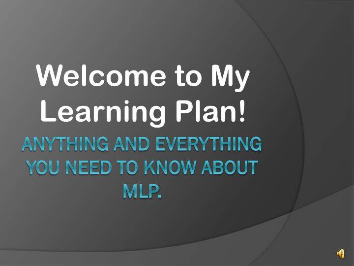 welcome to my learning plan n.
