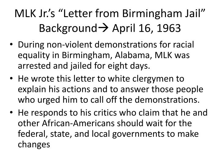 a critique to ìletter from birmingham jailî essay Letter from a birmingham jail  author: king, martin luther  birmingham, 1963 king papers about the papers project.
