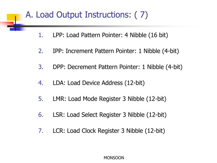 A. Load Output Instructions: ( 7)