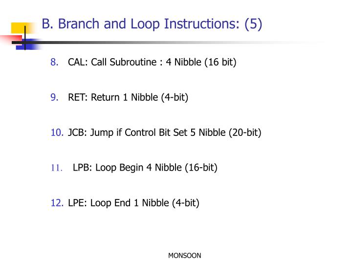 B. Branch and Loop Instructions: (5)