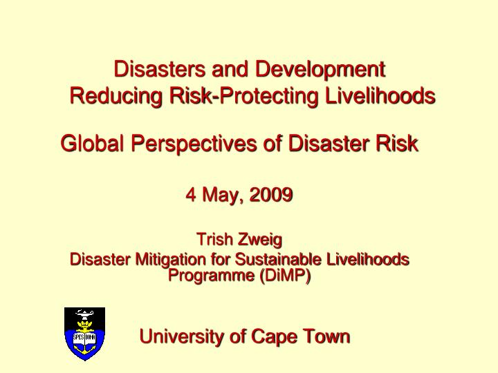 disasters and development reducing risk protecting livelihoods n.