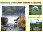 incorporate drr in urban and land use planning
