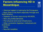 factors influencing hd in mozambique