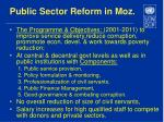 public sector reform in moz