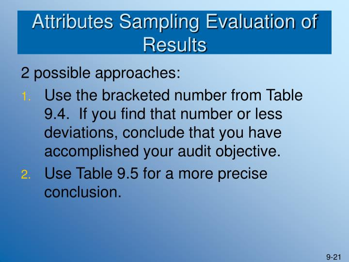Attributes Sampling Evaluation of Results